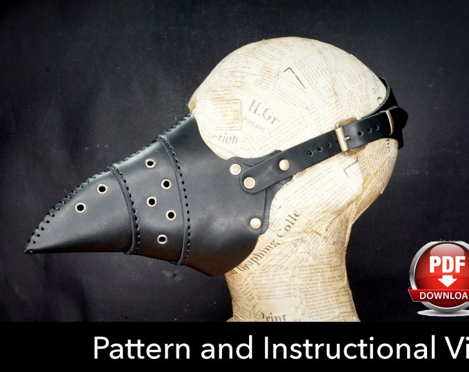 Plague Doctor Mask Pattern - DIY Pattern - Halloween Mask DIY - Pdf Download - Plague Mask Template