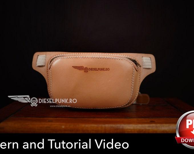 Fanny Pack Pattern - Bum Bag pattern - Leather DIY - Pdf Download - Hip Bag - Video Tutorial