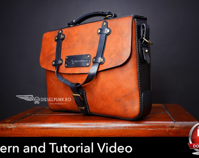 Leather Satchel Pattern - Pdf Download - Leather Bag Pattern - Leather Bag Template - Messenger Bag Pattern - Laptop bag Template