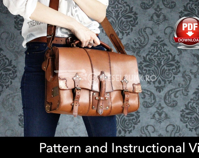 Bag Pattern - Pdf Download - Leather DIY - Witchdoctor Bag - Video Tutorial