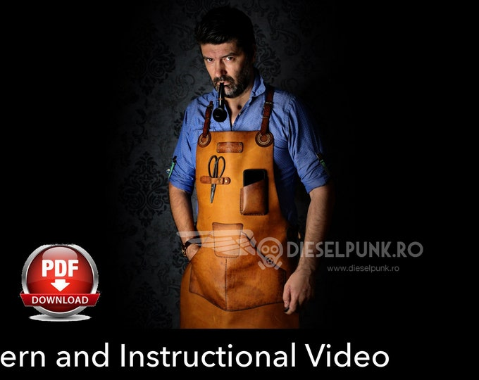 Apron Pattern - Leather DIY - Pdf Download - Leather Apron - Video Tutorial