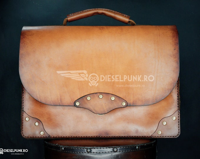 Leather Briefcase - Messenger Bag - Leather Bag - Hand made Bag - Business Leather Bag