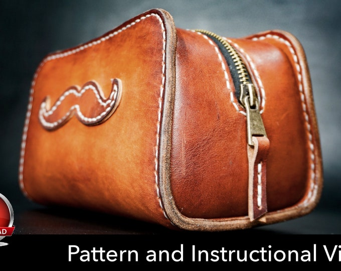 Dopp Kit Pattern - Toiletry Bag Pattern - Leather DIY - Pdf Download - Leather Pattern - Groomsmen Bag Pattern - Leather Bag Template