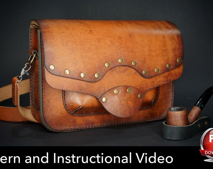 Leather Bag Pattern - Leather DIY - Pdf Download - Leather Pattern - Leather Bag Template - Unisex Bag Pattern - Bag Template