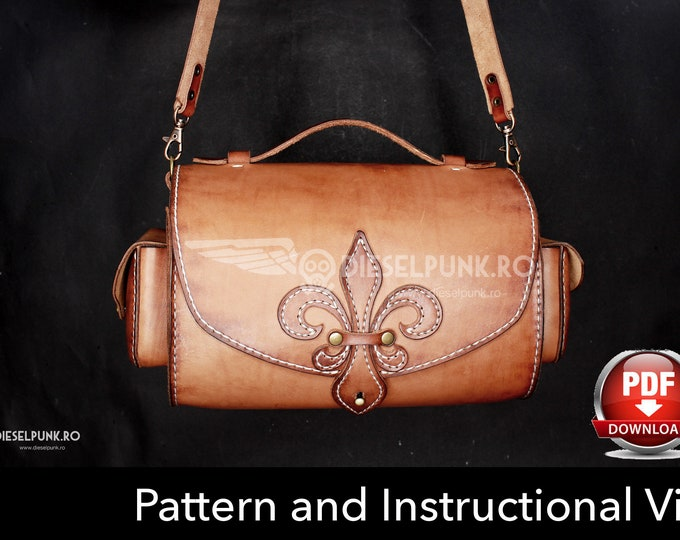 Bag Pattern - Leather DIY - Pdf Download - Fleur de lis Bag - Video Tutorial