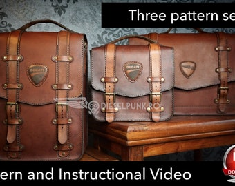 5046c35a5 Leather Bag Pattern - Pattern Set - Leather DIY - Pdf Download - Leather Bag  - Video Tutorial