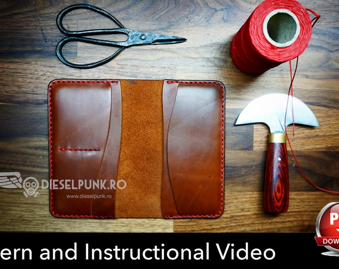 Long Wallet Pattern - Leather DIY - Pdf Download - Wallet Template - Video Tutorial