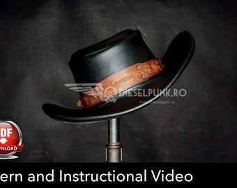 Leather Hat Pattern - DIY Pattern - Cosplay Hat DIY - Pdf Download - Cowboy Hat Leather Template - Leather Hat template