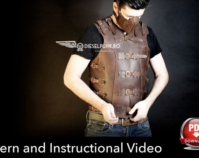 Men Vest Pattern - Cosplay DIY - Pdf Download  - Video Tutorial - Biker Vest Template