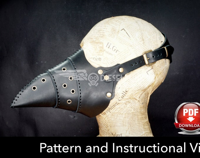 Plague Doctor Mask Pattern - Leather DIY - Pdf Download - Video Tutorial