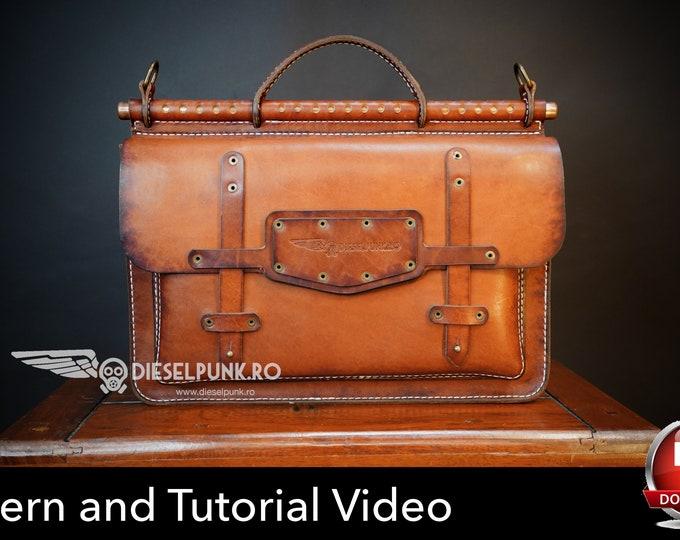 Briefcase Bag Pattern - Leather DIY - Pdf Download - Leather Bag Pattern - Leather Bag Template - Laptop Bag Pattern - Bag Template