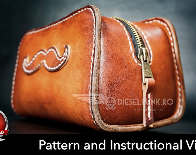 Dopp Kit Pattern - Toiletry Bag Pattern - Leather DIY - Pdf Download - Leather Pattern - Groomsmen Bag Pattern - Leather Bag Template