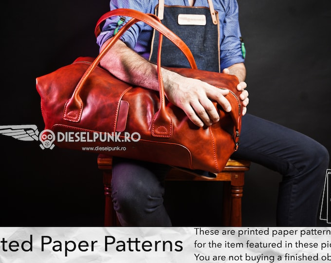 Duffel Bag Pattern - Printed Paper Patterns - Leather DIY - Large Leather Bag - Video Tutorial