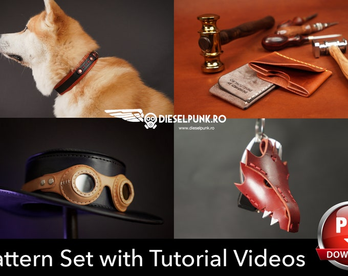 Leather Working Pattern Set - Dog Collar - Dragon Key Fob - Steampunk Goggles - Card Wallet - Pdf Download