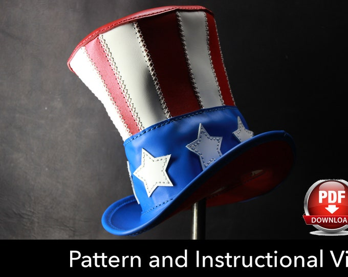 Leather Hat PATTERN - DIY Pattern - Uncle Sam Hat DIY - Pdf Download - American Hat - Top hat Template