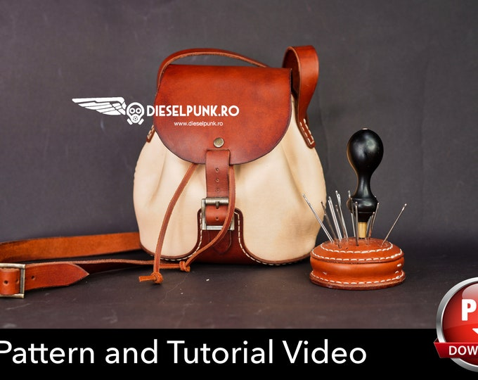 Ladies Bag Pattern - Bag Pattern - Leather DIY - Pdf Download - Leather Purse - Video Tutorial