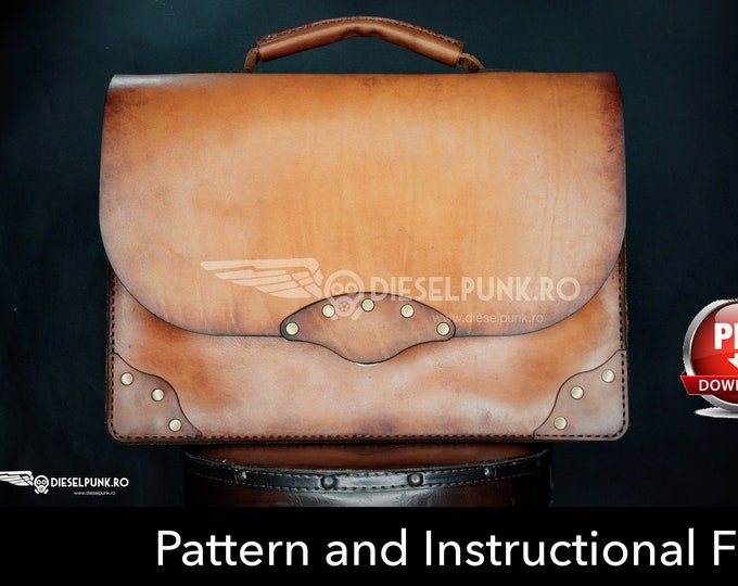 Bag Pattern - Leather DIY - Pdf Download - Briefcase Bag