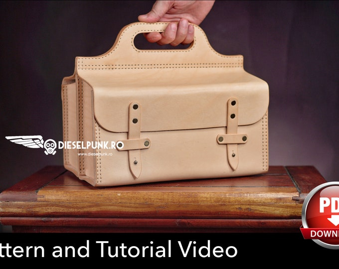 Leather Tool Bag Pattern - Pdf Download - Leather DIY - Tool Bag - Video Tutorial