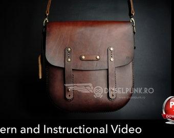 Bag Pattern - Leather DIY - Pdf Download - Messenger Bag - Video Tutorial