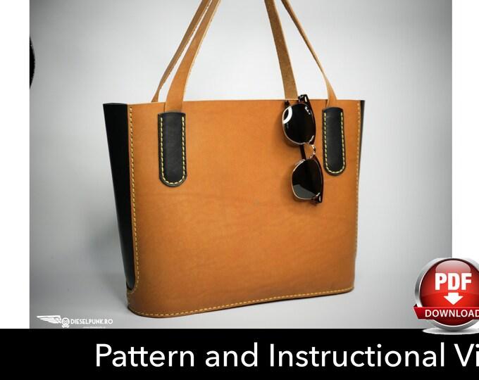 Tote Bag Pattern - Leather DIY - Pdf Download - Leather Bag Pattern - Tote Bag Pattern - Shopping Bag Pattern - Bag Template