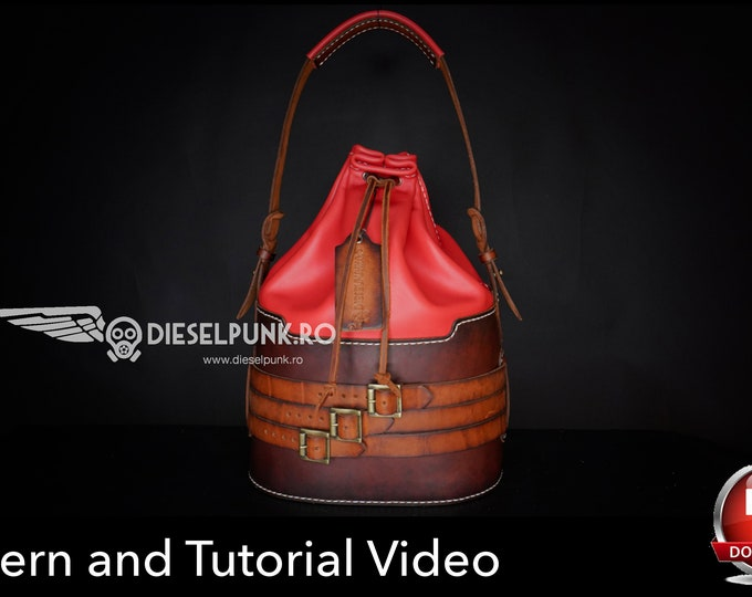 Bucket Bag Pattern - Leather DIY - Pdf Download - leather bag pattern - Video Tutorial