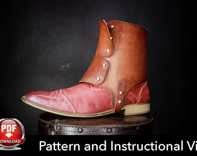 Spats Pattern - Cosplay DIY -Spats Pattern - Half Chaps Pattern - Shoe Spats Template - Gaiters Template -  Leather Template