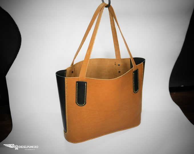 Leather Tote Bag - Leather Bag - Hand made Bag - Shopping Bag