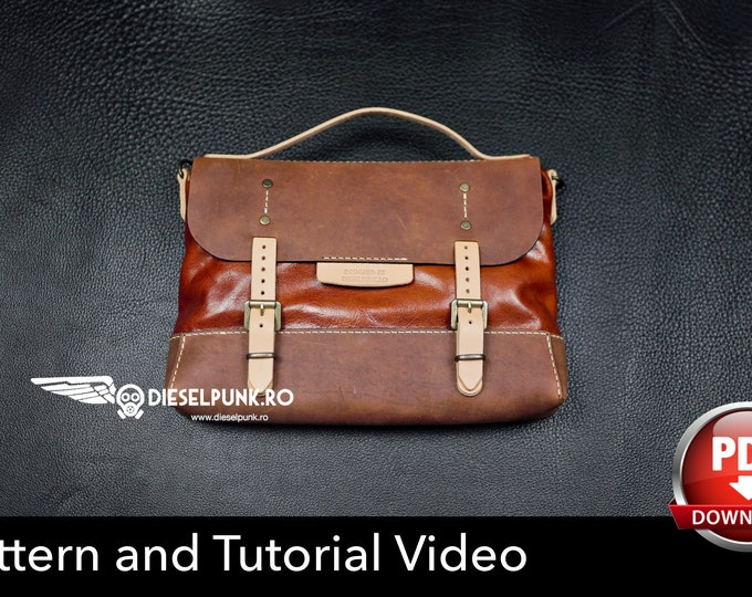Messenger Bag - Leather DIY - Pdf Download - Laptop Bag Pattern - Video Tutorial