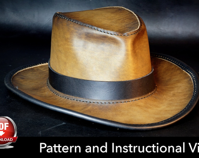 Leather Hat Pattern - DIY Pattern - Indiana Jones Hat DIY - Pdf Download - Indiana Jones Hat Leather Template - Leather Hat template