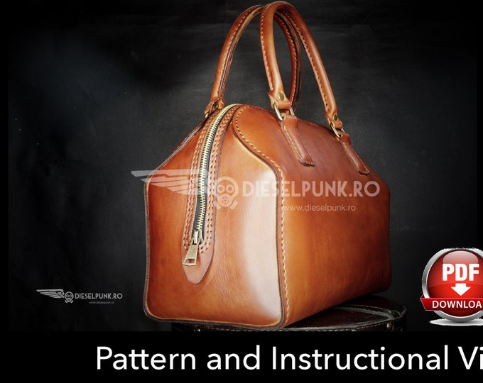 Bag Pattern - Leather DIY - Pdf Download - Boston Bag - Video Tutorial