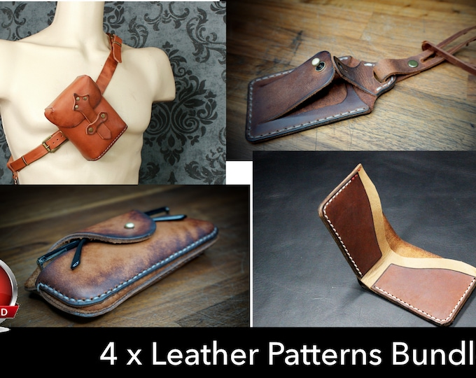 Pouch Pattern - Wallet Pattern - Luggage Tag Pattern - Glasses Case Pattern - Leather Pattern Set - 4 Patterns included - Leather Template