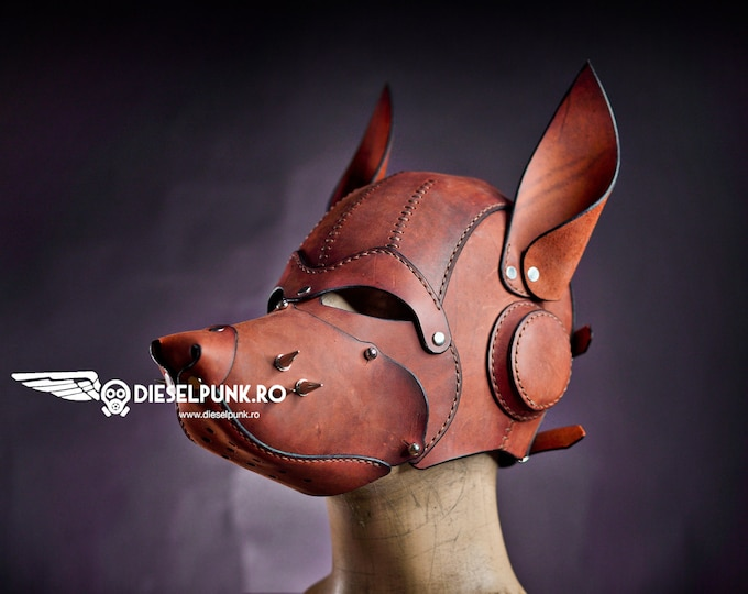 Dog Leather Mask with Removable Snout