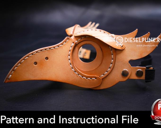 Bird Mask Pattern - Halloween Mask Pattern -  DIY Leather