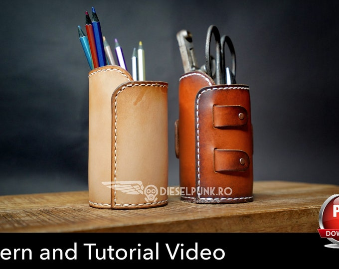 Leather Cup Pattern - Leather DIY - Pdf Download  - Video Tutorial