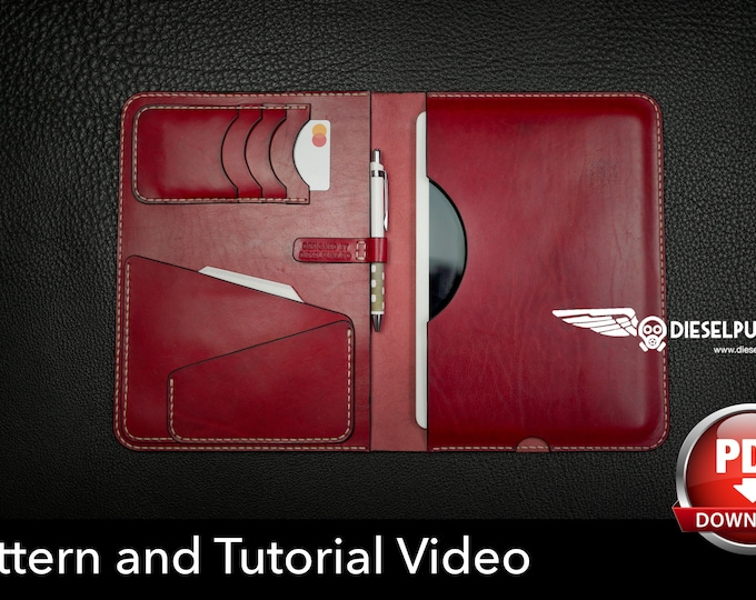 iPad Cover Pattern - Leather DIY - Pdf Download - Notebook Cover Pattern Template - Video Tutorial