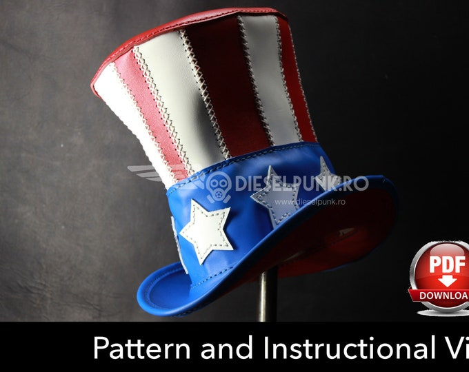 Top Hat PATTERN - DIY Pattern -Pdf Download - Uncle Sam Hat - Video Tutorial