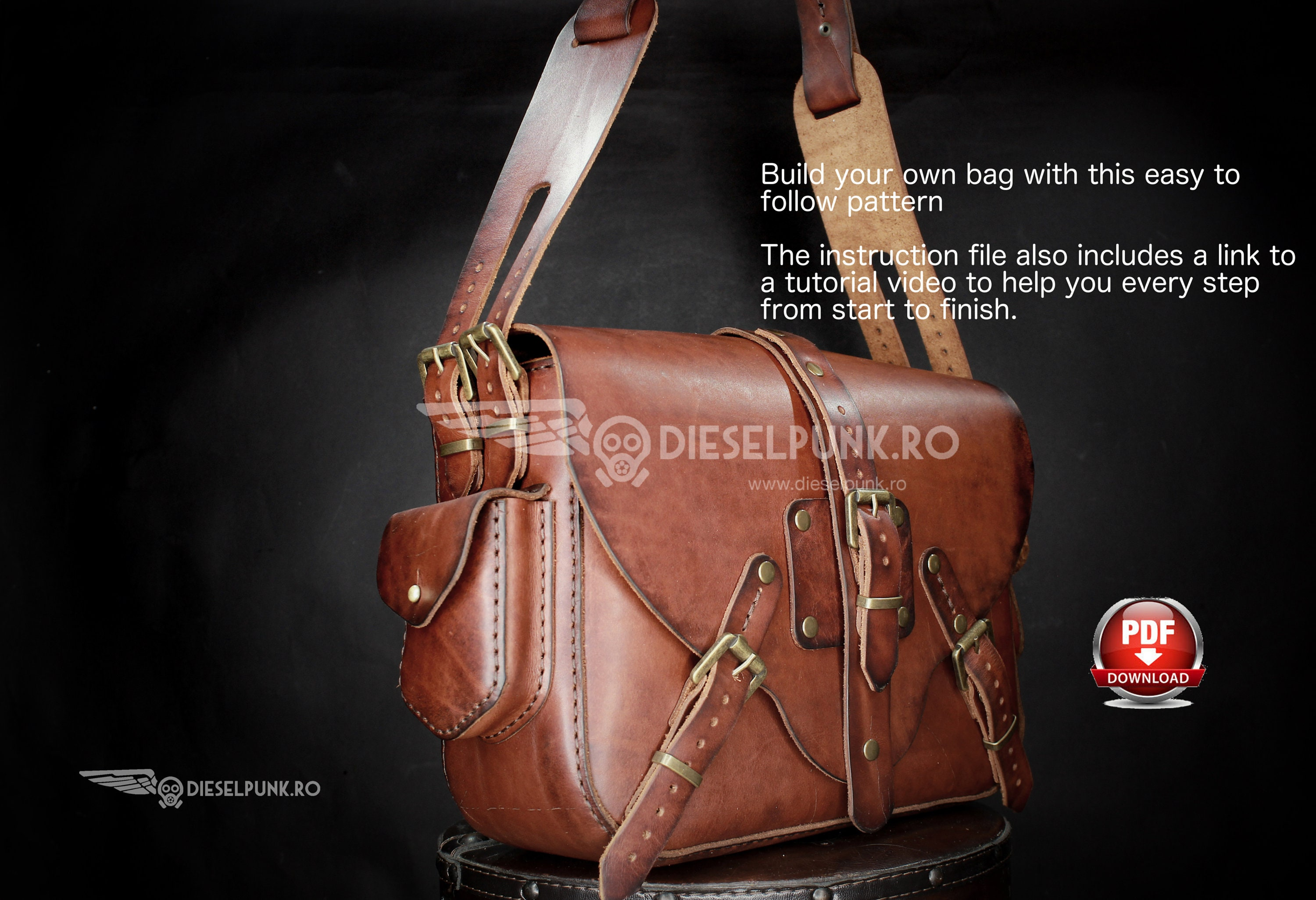 Bag Pattern - Leather DIY - Pdf Download - Ladies Bag - Video Tutorial a05b1d9dccdc1