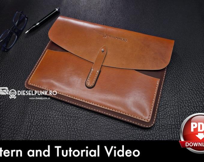Laptop Cover Pattern - Leather DIY - Pdf Download - MacBook Sleeve Template - Video Tutorial