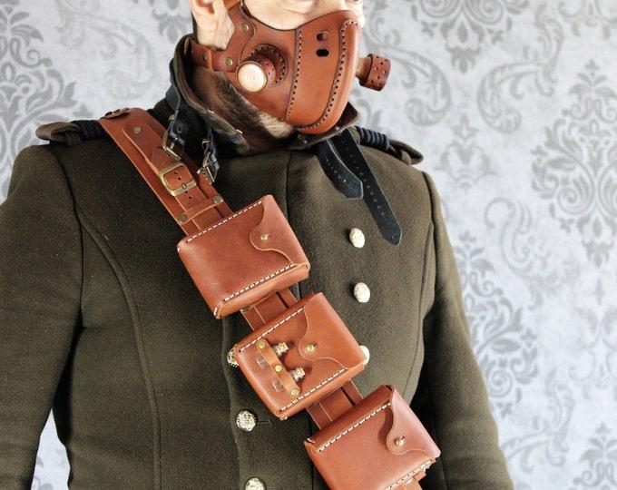 STEAMPUNK UTILITY BELT leather gear larp cosplay