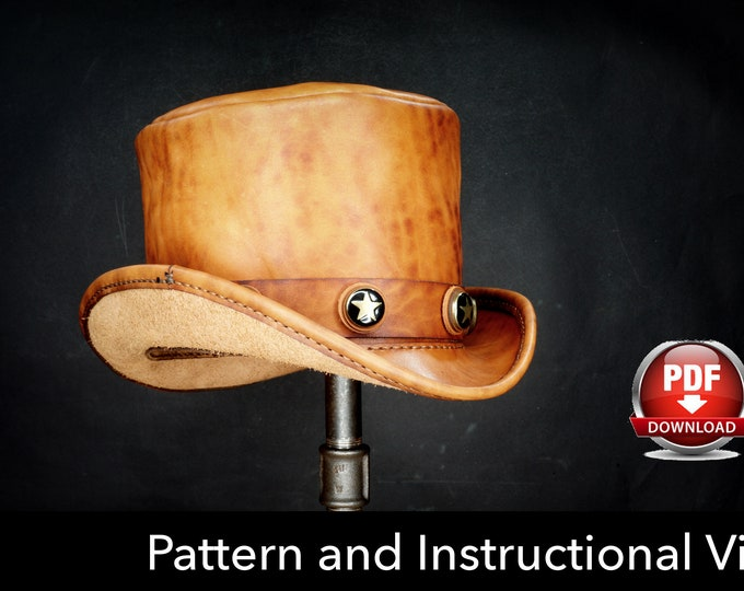 Top Hat Pattern - DIY Pattern - Steampunk Hat DIY - Pdf Download - Hat Leather Template - Leather Hat Pattern