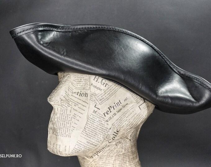 Pirate Hat - Steampunk Hat - Leather Hat - Tricorn