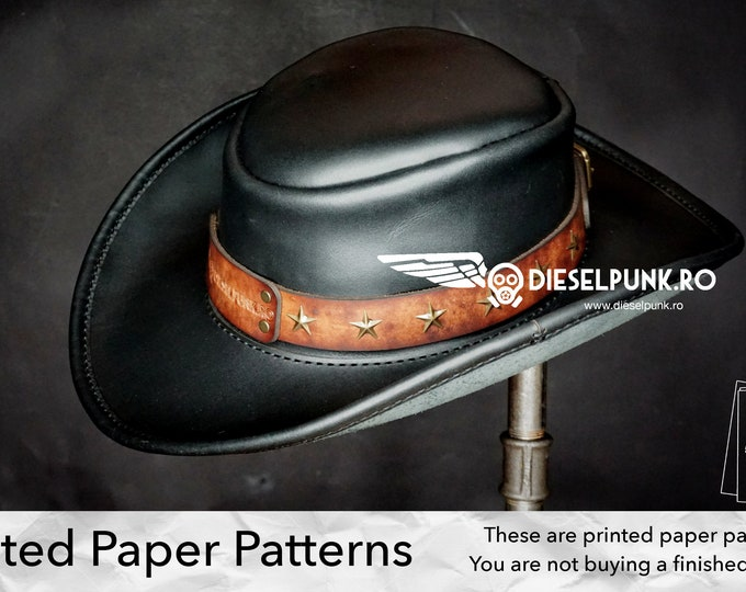 Leather Hat Pattern - PAPER Pattern - Cowboy Hat Leather Template