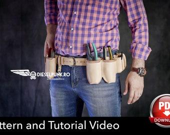Tool Belt Pattern - Leather DIY - Pdf Download - Hip Bag - Video Tutorial