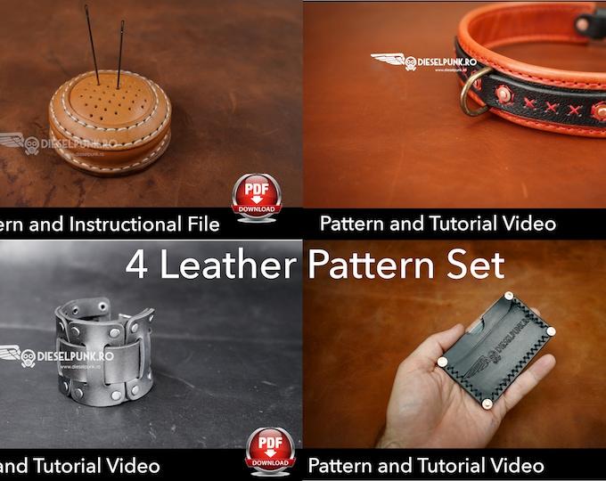 4 Leather Pattern Set - Card Wallet Pattern - Dog Collar Pattern - Pin Cushion Pattern - Bracelet Pattern - PDF downloads