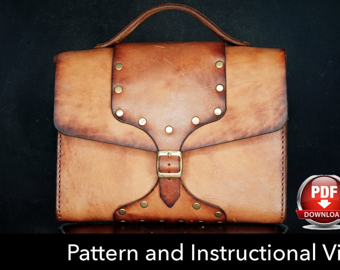 Bag Pattern - Leather DIY - Pdf Download - Leather Pattern - Messenger Bag Pattern - Unisex Bag Pattern - Bag Template