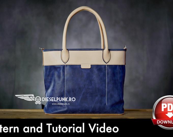 Tote Bag Pattern - Leather DIY - Pdf Download - Leather Bag Pattern - Leather Pattern - Shopping Bag Pattern - Bag Template