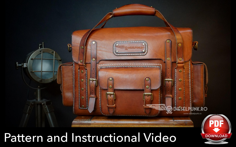 cd79211a60e1 Bag Pattern - Pdf Download - Leather DIY - Explorer Bag - Video Tutorial