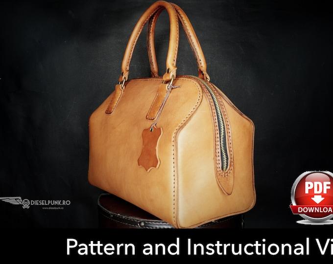Bag Pattern - Leather DIY - Pdf Download - Leather Pattern - Doctor Bag Pattern - Boston Bag Pattern