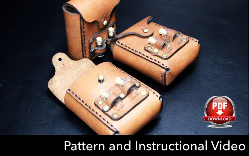Pouch Pattern - Leather DIY - Pdf Download - Video Tutorial
