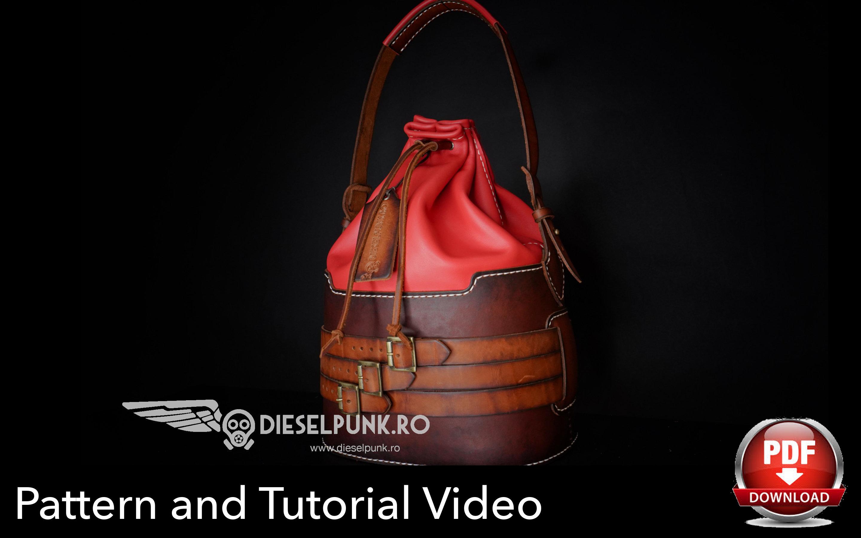 Bucket Bag Pattern Leather Diy Pdf Download Leather Bag Pattern Video Tutorial